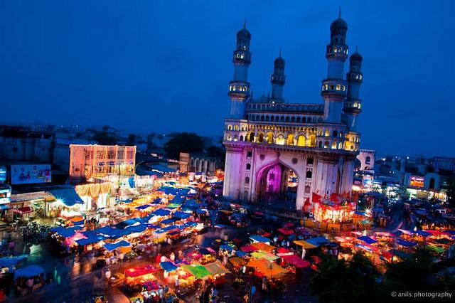 Beautiful buzzing Charminar in Hyderabad during Ramzan